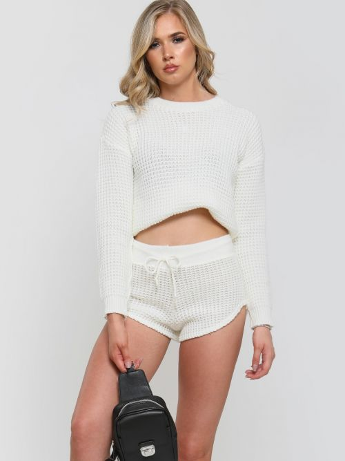 Rosa Waffle Knit Jumper & Shorts Lounge Co-ord In Cream