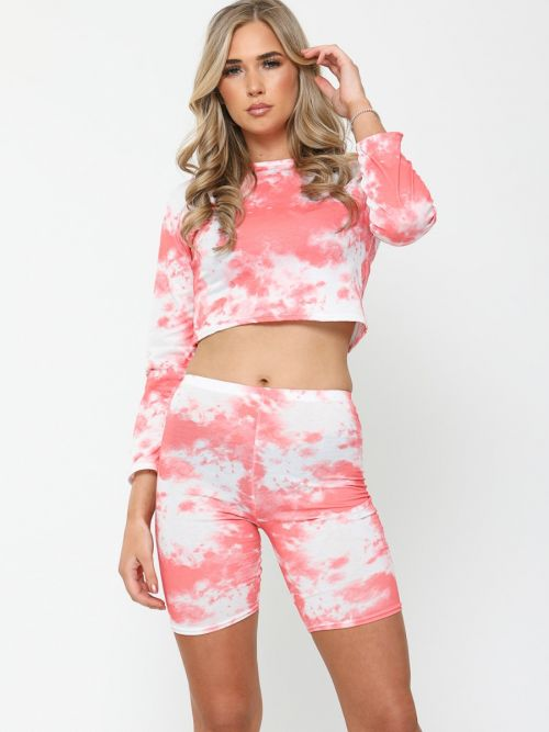 Toni Tie-Dye Crop Top & Cycling Shorts Co-ord In Coral