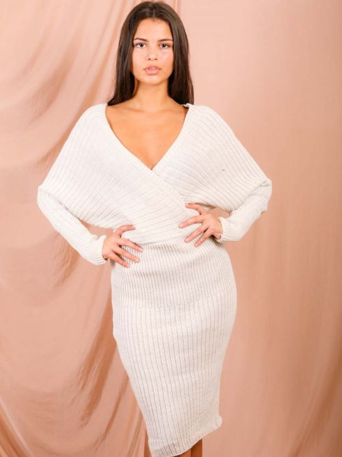 Lana Wrap Front & Back Knitted Midi Dress In Stone