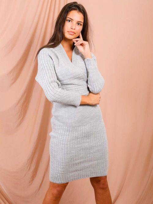 Lana Wrap Front & Back Knitted Midi Dress In Grey