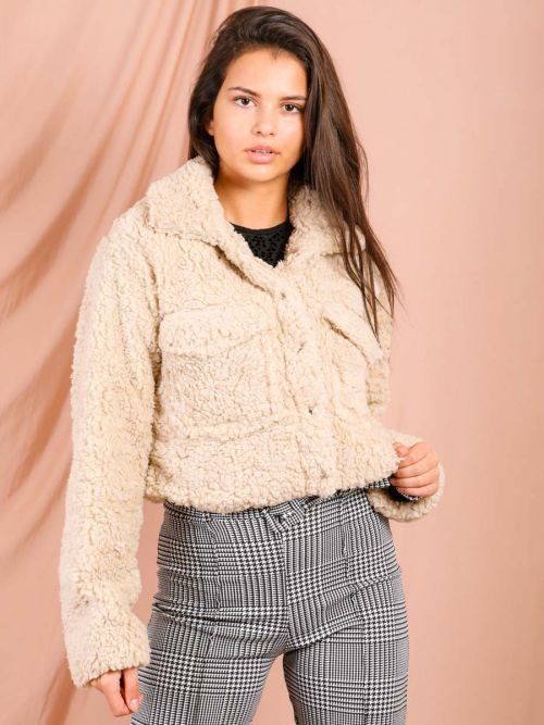 Sophia New Borg Popper Button Cropped Jacket In Stone