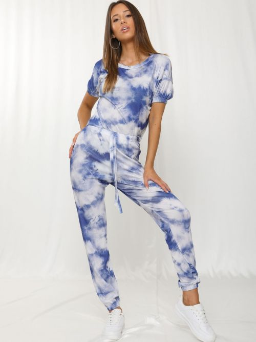 Kaisa Tie-Dye Elasticated Sleeve Ribbed Boxy Co-ord In Blue
