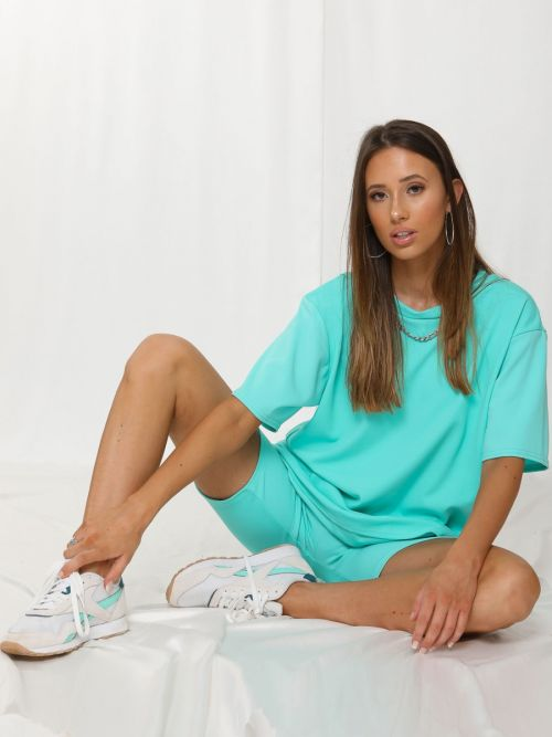 Donika Oversized T-Shirt & Shorts Co-ord In Mint