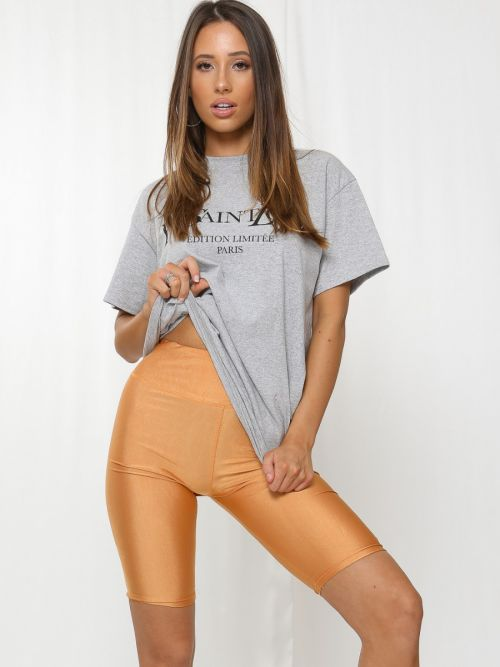 Frankie Satin Cycling Shorts In Camel