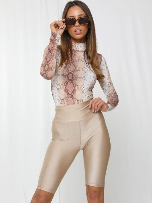 Frankie Satin Cycling Shorts In Stone