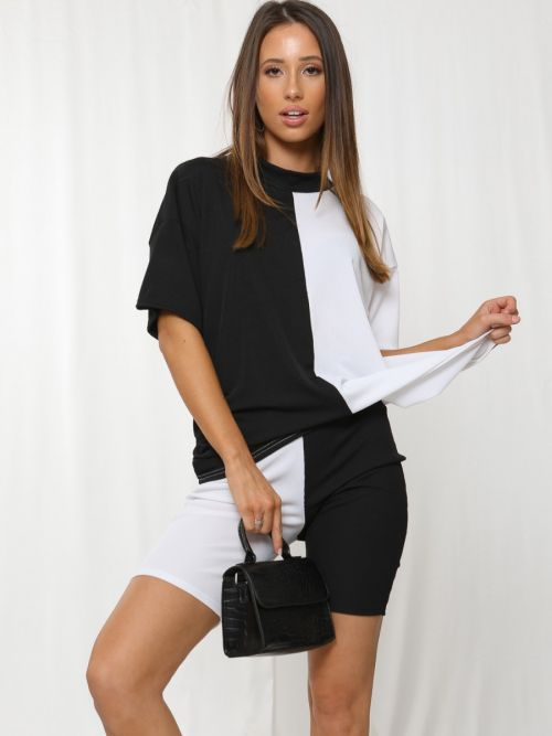Charlee 50/50 Ribbed Oversized T-Shirt & Shorts Co-ord In Monochrome