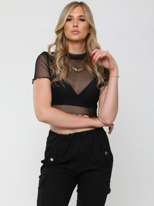 Andrea Butterfly Embroidered Mesh Crop Top In Black