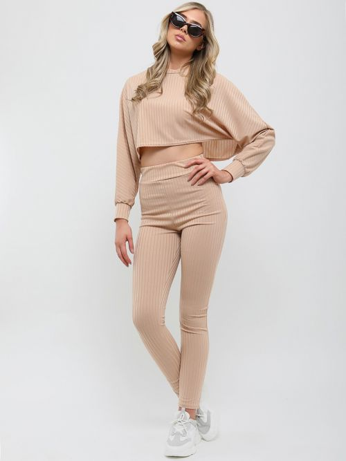 Kera Ribbed Baggy Crop Top & Trouser Co-ord In Stone