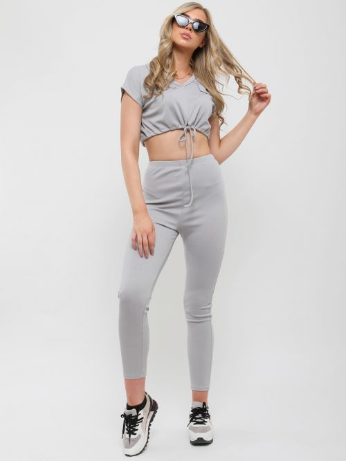 Benny Ribbed Drawstring Crop Top & Trouser Co-ord In Grey