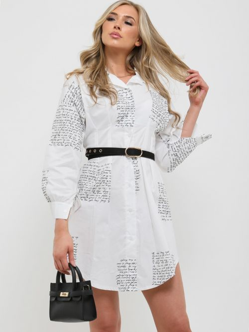 Alice Printed Shirt Dress In White