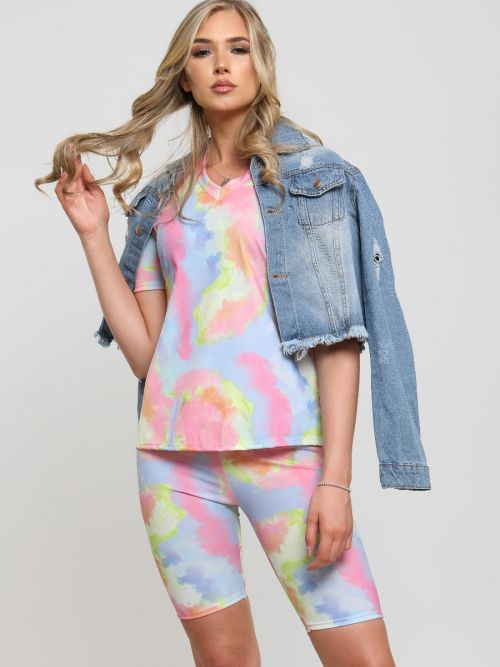 Simona Tie Dye Top & Cycling Shorts Co-ord In Pink