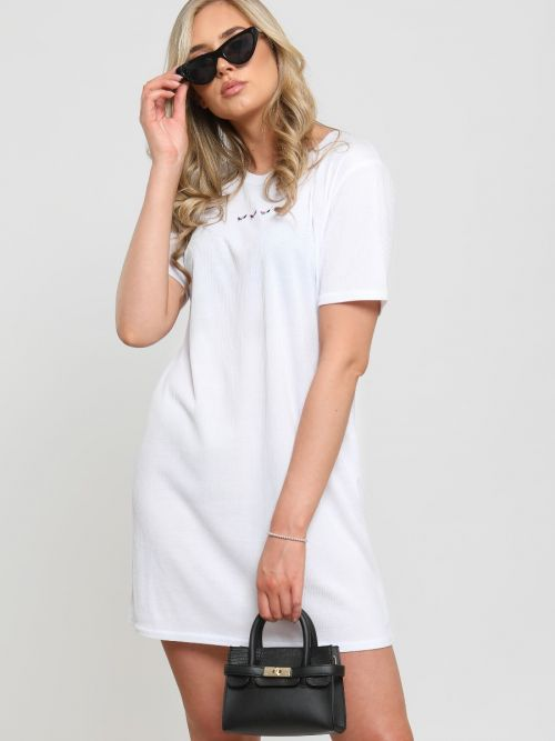Melisa Embroidered Butterfly Rib Dress In White