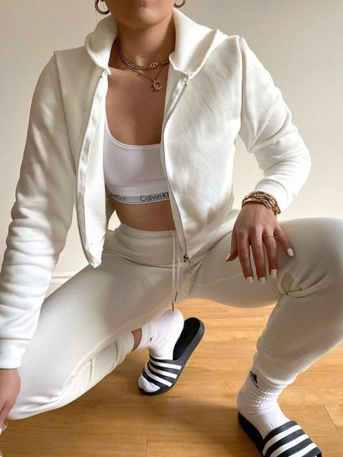 Tina Zip Hoodie & Jogger Co-ord In Cream