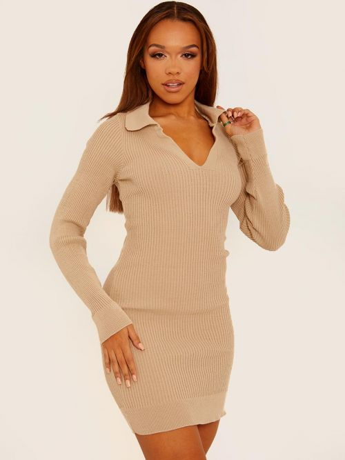 Helena Ribbed Knitted Collar Dress In Stone
