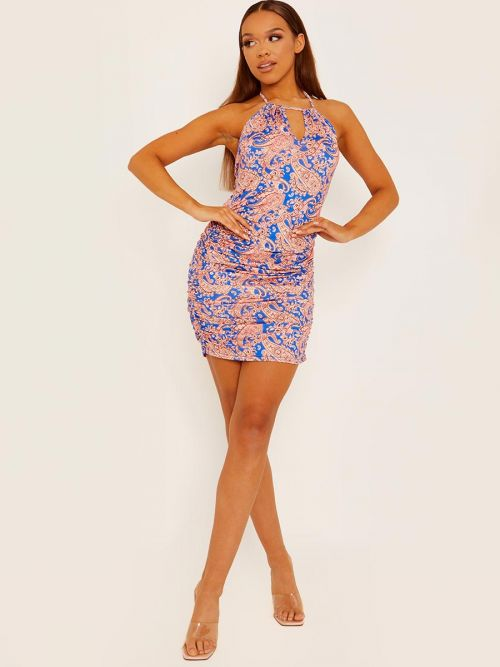 Gabrielle Halter Neck Paisley Print Ruched Dress In Blue