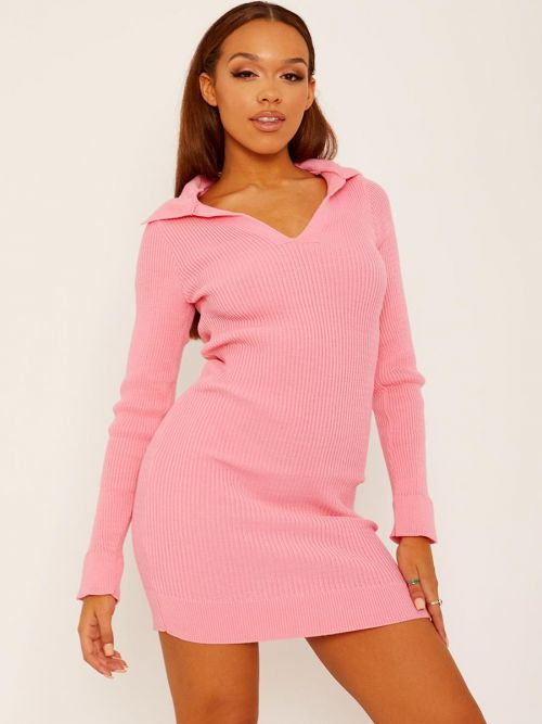 Helena Ribbed Knitted Collar Dress In Pink