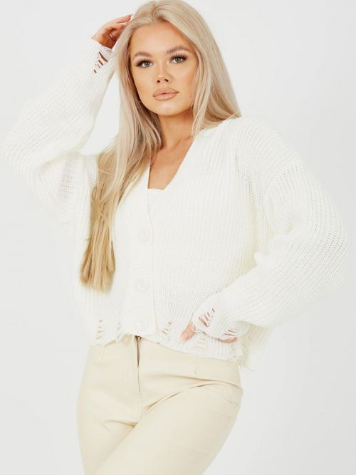 Sasha Distressed Chunky Knit Button Front Cardigan In Cream