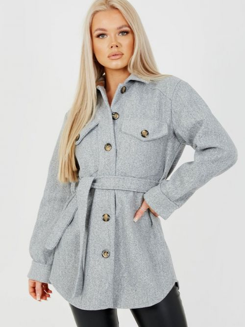 Alix Oversized Thick Belted Shacket In Grey