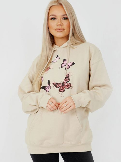 Rose Butterfly Graphic Print Fleeced Hoodie In Stone