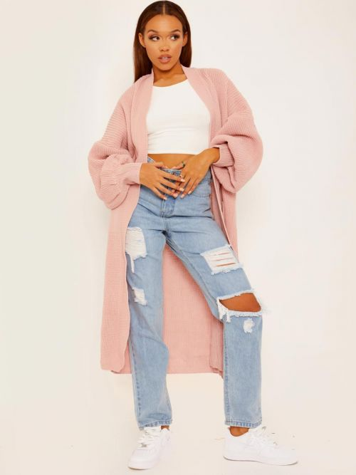 Bonie Balloon Sleeves Knitted Open Cardigan In Pink
