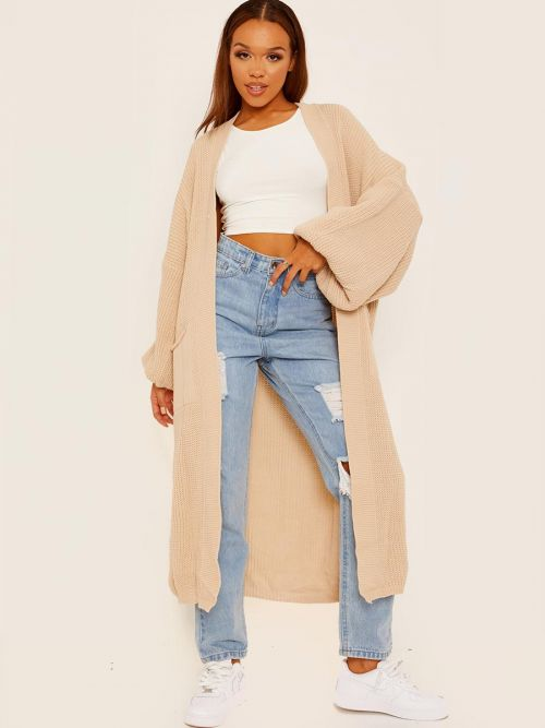 Bonie Balloon Sleeves Knitted Open Cardigan In Stone