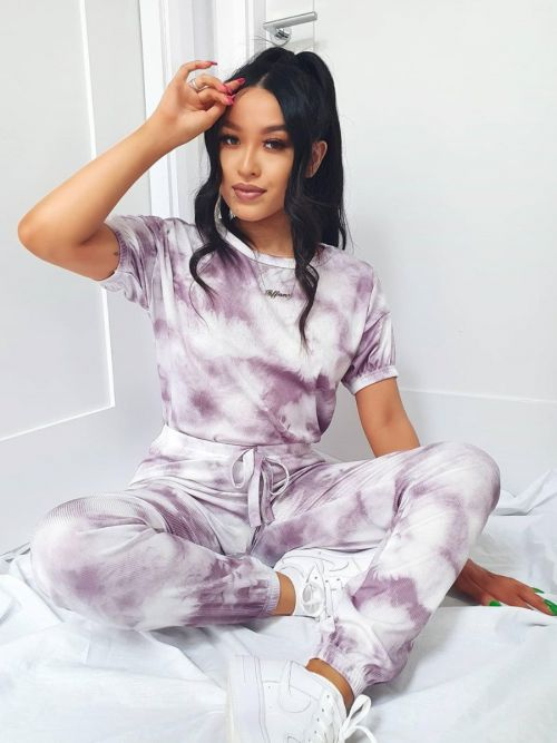 Kaisa Tie-Dye Elasticated Sleeve Ribbed Boxy Co-ord In Purple