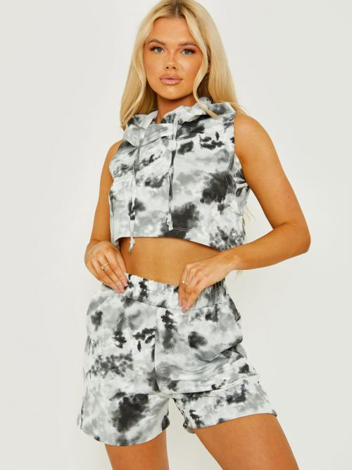 Daphie Sleeveless Tie-Dye Cropped Hoodie & Shorts Co-ord In Grey
