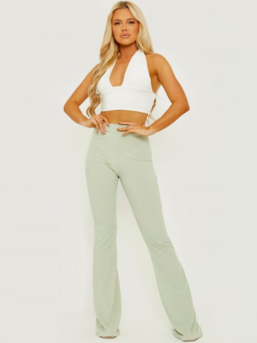 Camila Ribbed Flared Trousers In Green