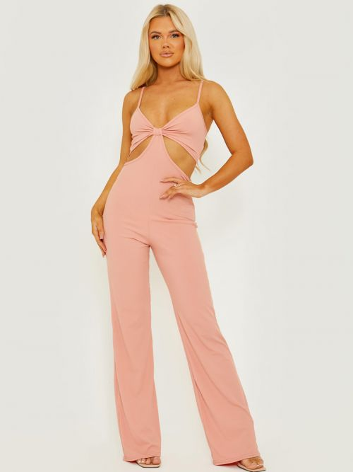 Devin Cut Out Ribbed Cami Jumpsuit In Rose
