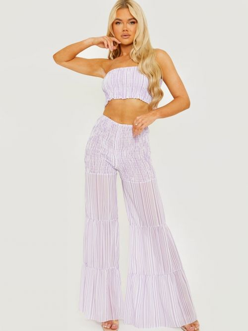 Medina Shirred Striped Top & Tiered Trouser Co-ord In Lilac