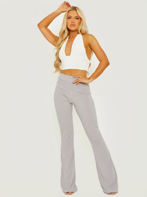 Camila Ribbed Flared Trousers In Grey