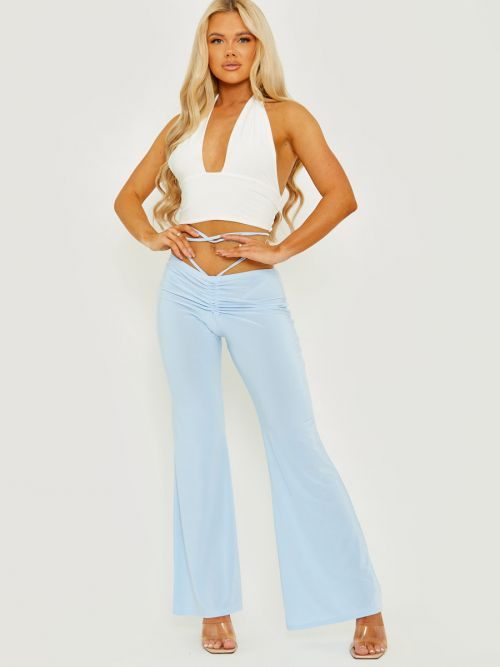 Micia Slinky Ruched Tie Waist Wide Leg Trousers In Blue