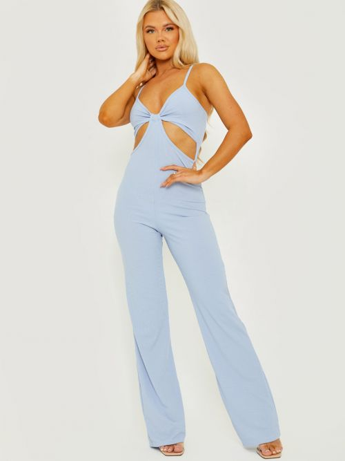 Devin Cut Out Ribbed Cami Jumpsuit In Blue