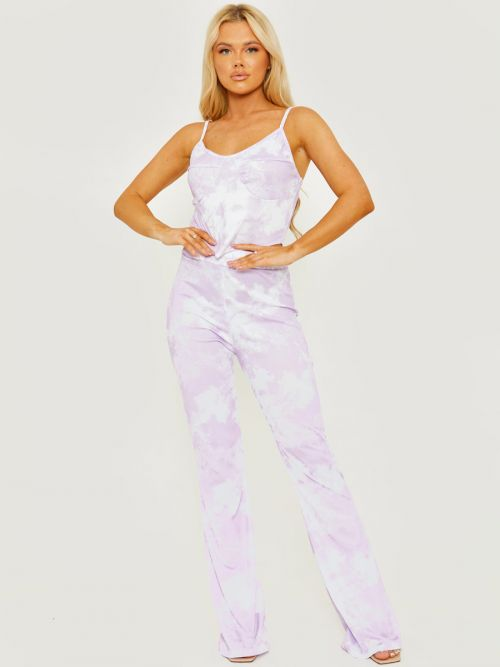 Sadie Tie-Dye Cami Top & Flared Trouser Co-ord In Lilac