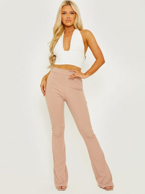 Camila Ribbed Flared Trousers In Stone