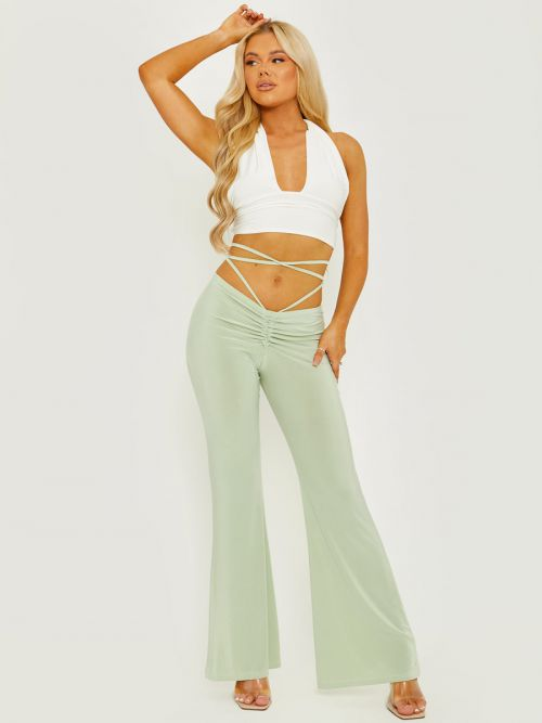 Micia Slinky Ruched Tie Waist Wide Leg Trousers In Green