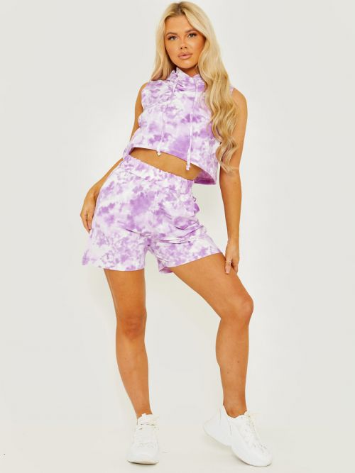 Daphie Sleeveless Tie-Dye Cropped Hoodie & Shorts Co-ord In Purple