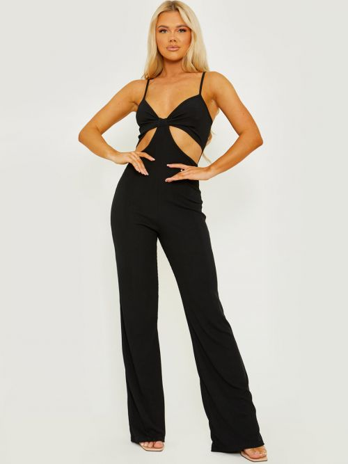 Devin Cut Out Ribbed Cami Jumpsuit In Black