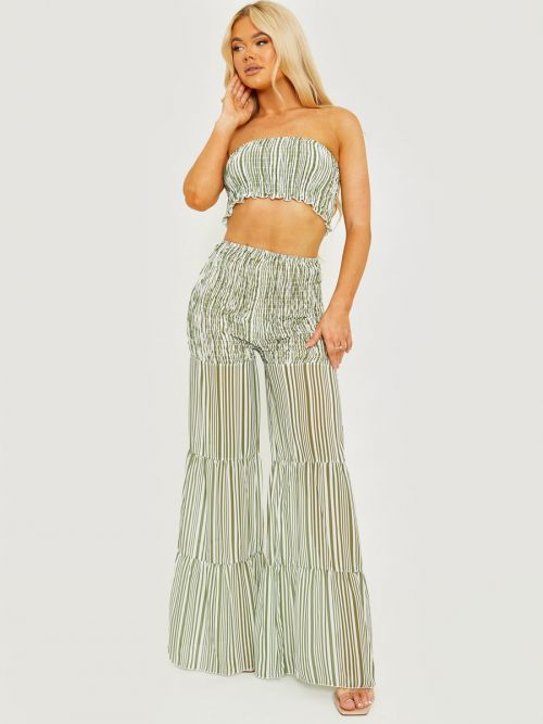 Medina Shirred Striped Top & Tiered Trouser Co-ord In Green