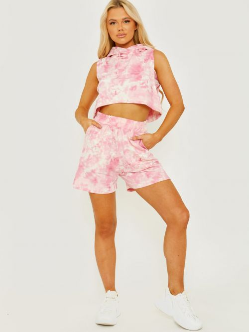 Daphie Sleeveless Tie-Dye Cropped Hoodie & Shorts Co-ord In Pink