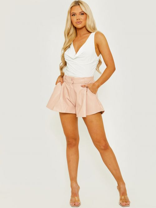 Thea PU Coated High Waisted Flared Shorts In Pink