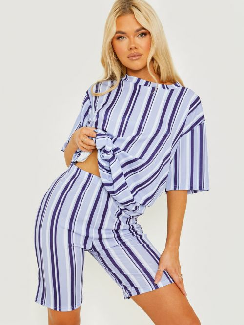 Chelsea Striped Ribbed Oversized Top & Shorts Co-ord In Blue