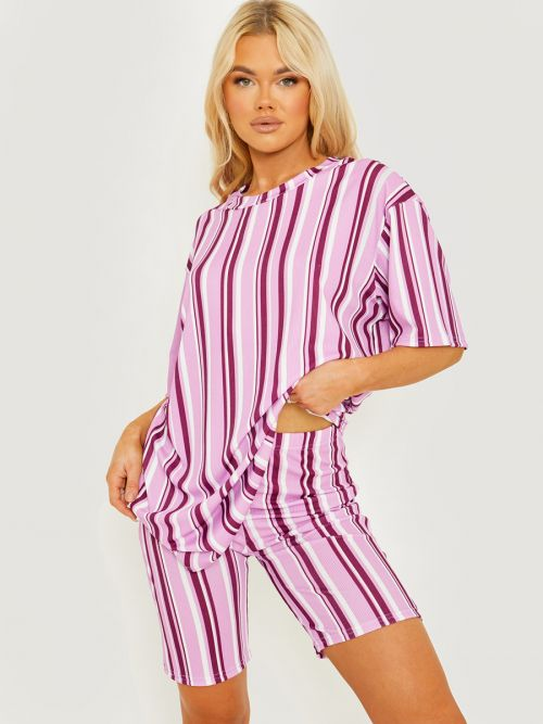 Chelsea Striped Ribbed Oversized Top & Shorts Co-ord In Lilac