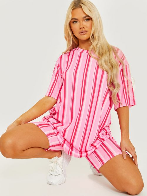 Chelsea Striped Ribbed Oversized Top & Shorts Co-ord In Pink