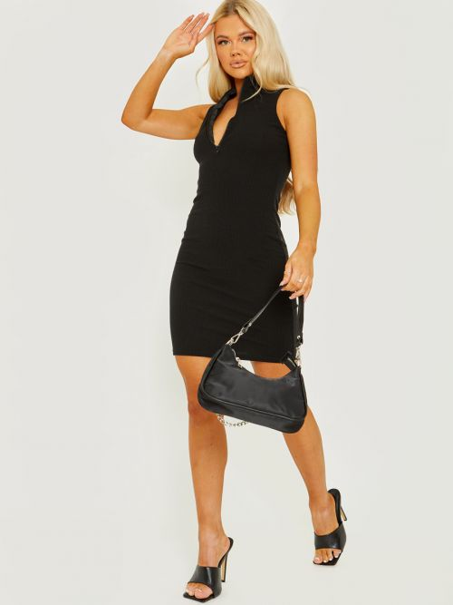 Melly Sleeveless Zip Detail Ribbed Bodycon Dress In Black