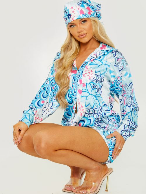 Terri Printed Satin Blouse & Shorts Co-ord With Matching Bandana In Blue