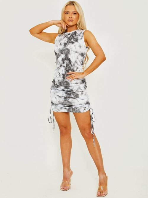 Mona Tie-Dye Sleeveless Ribbed Ruched Dress In Grey