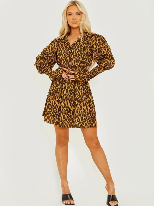 Lilly Leopard Print Shirred Shirt Style Dress