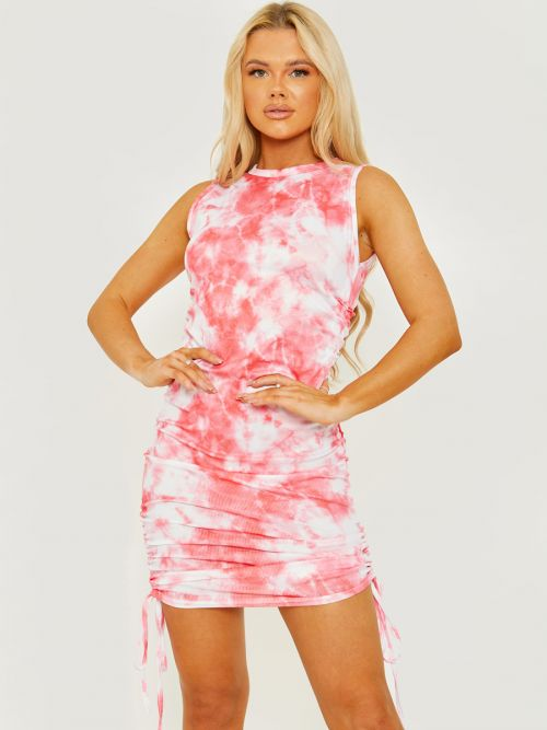 Mona Tie-Dye Sleeveless Ribbed Ruched Dress In Pink