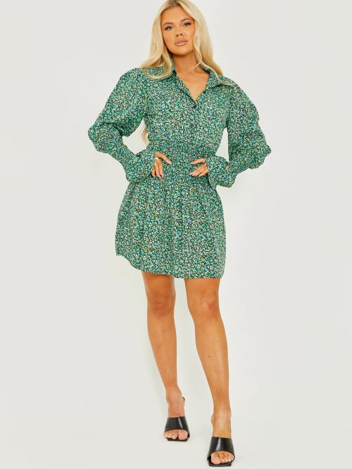 Lilly Ditsy Floral Shirred Shirt Style Dress In Green